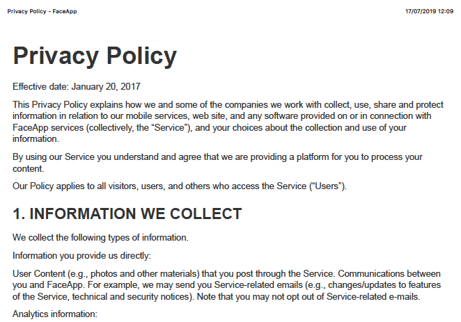 Política de Privacidade do FaceApp